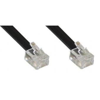 Tel. Anschlusskabel RJ11 - RJ11 (6/4), Kabel flach